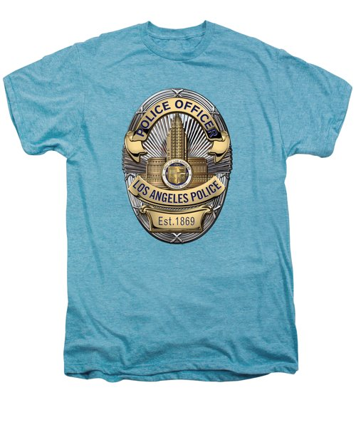 Los Angeles Police Department  -  L A P D  Police Officer Badge Over White Leather Men's Premium T-Shirt by Serge Averbukh
