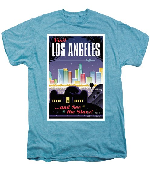 Los Angeles Retro Travel Poster Men's Premium T-Shirt by Jim Zahniser