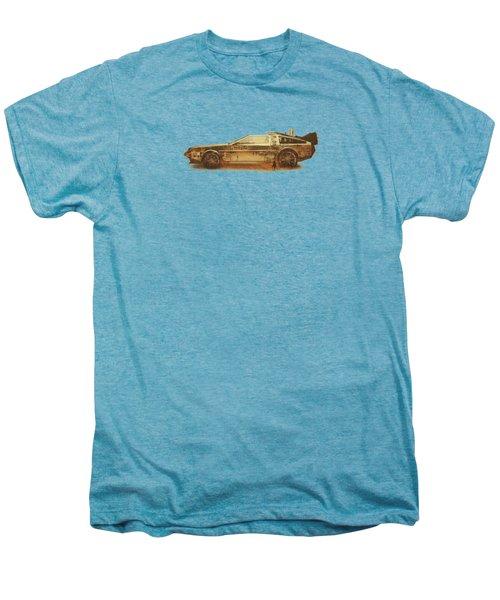 Lost In The Wild Wild West Golden Delorean Doubleexposure Art Men's Premium T-Shirt by Philipp Rietz
