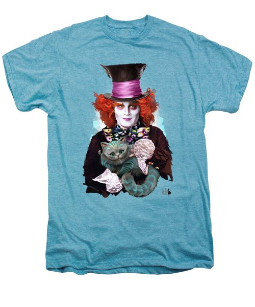 Mad Hatter And Cheshire Cat Men's Premium T-Shirt by Melanie D