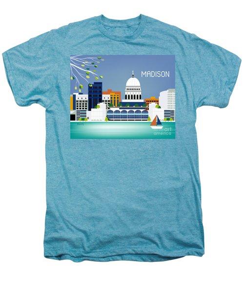 Madison Wisconsin Horizontal Skyline Men's Premium T-Shirt