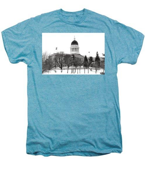 Maine State Capitol In Winter Men's Premium T-Shirt