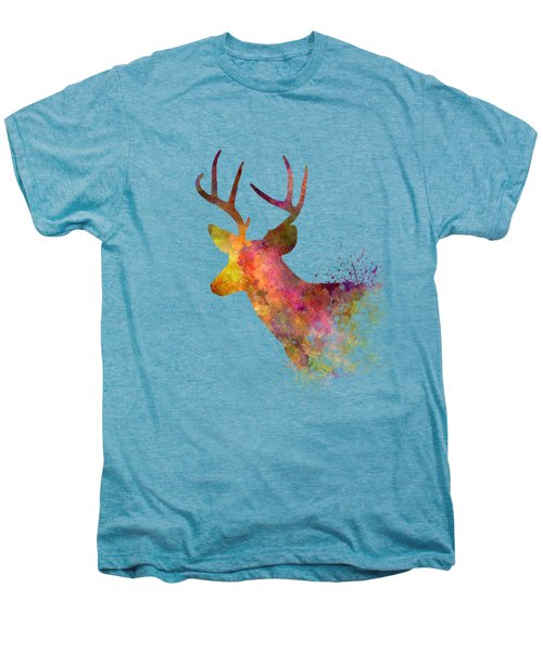 Male Deer 02 In Watercolor Men's Premium T-Shirt by Pablo Romero