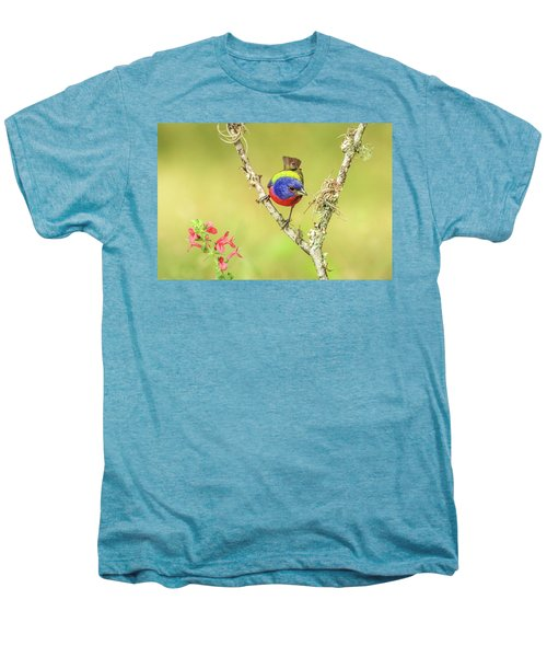 Male Painted Bunting #2 Men's Premium T-Shirt by Tom and Pat Cory