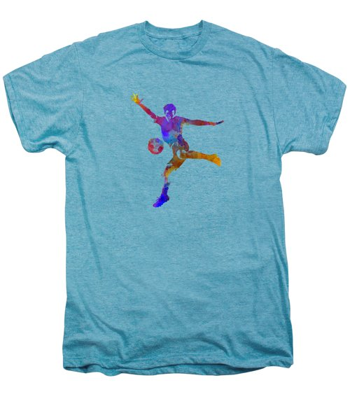 Man Soccer Football Player 14 Men's Premium T-Shirt by Pablo Romero