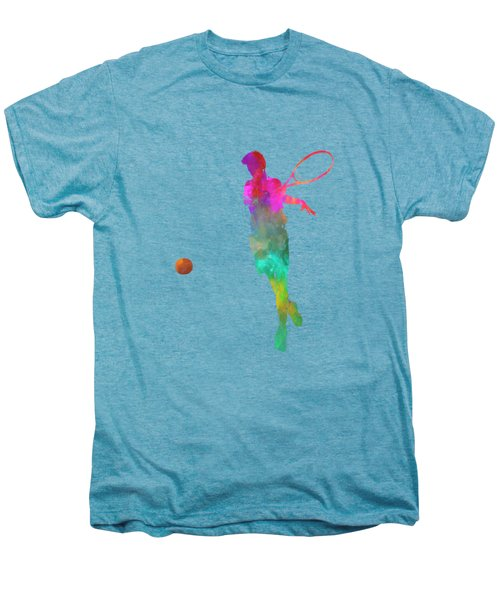 Man Tennis Player 01 In Watercolor Men's Premium T-Shirt by Pablo Romero