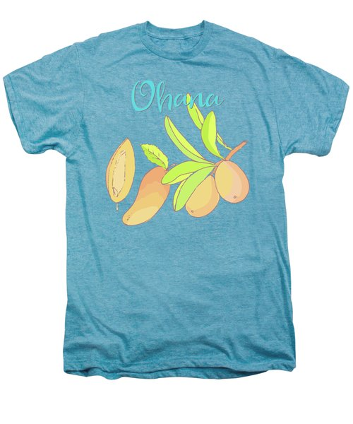 Mango Ohana Tropical Hawaiian Design Of Fruit And Family Men's Premium T-Shirt by Tina Lavoie