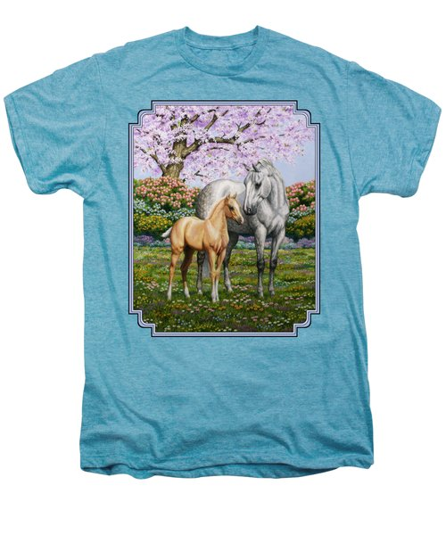 Mare And Foal Pillow Blue Men's Premium T-Shirt by Crista Forest