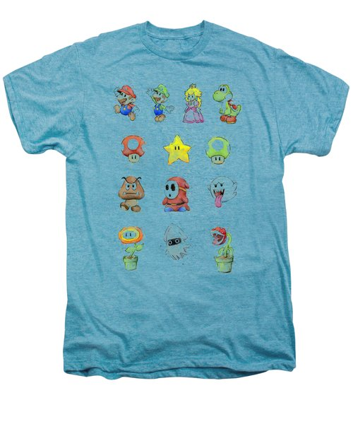 Mario Characters In Watercolor Men's Premium T-Shirt by Olga Shvartsur