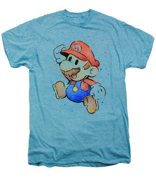 Mario Watercolor Fan Art Men's Premium T-Shirt by Olga Shvartsur