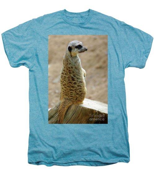 Meerkat Portrait Men's Premium T-Shirt by Carlos Caetano