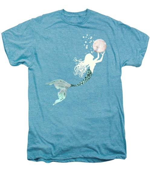 Mermaid Gathering Pearls Creamy White Siren Holds A Huge Pearl Men's Premium T-Shirt by Tina Lavoie
