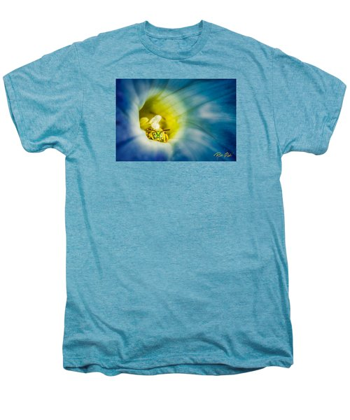 Metallic Green Bee In Blue Morning Glory Men's Premium T-Shirt by Rikk Flohr
