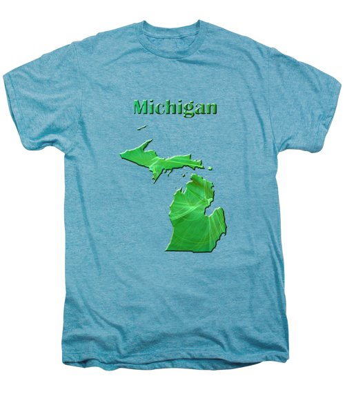 Michigan Map Men's Premium T-Shirt by Roger Wedegis