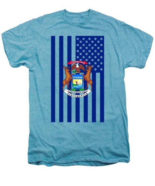 Michigan State Flag Graphic Usa Styling Men's Premium T-Shirt by Garaga Designs