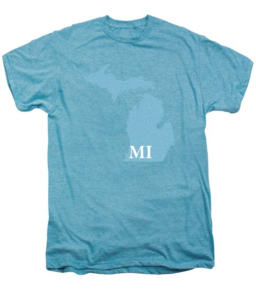 Michigan State Map With Text Of Constitution Men's Premium T-Shirt