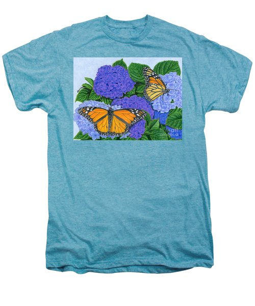 Monarch Butterflies And Hydrangeas Men's Premium T-Shirt by Sarah Batalka