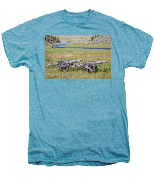 Men's Premium T-Shirt featuring the photograph Mongolian Ox Carts by Hitendra SINKAR