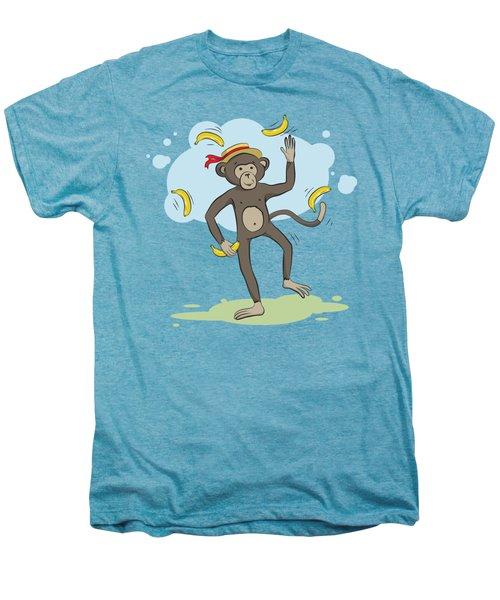Monkey Juggling Bananas Men's Premium T-Shirt by Elena Chepel