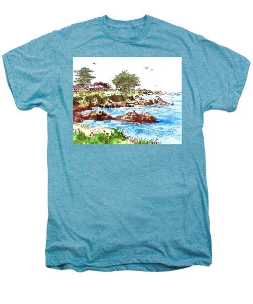 Men's Premium T-Shirt featuring the painting Monterey Shore by Irina Sztukowski