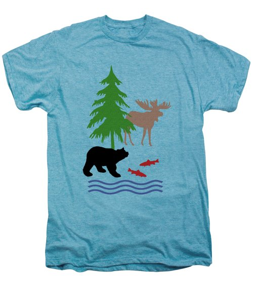 Moose And Bear Pattern Art Men's Premium T-Shirt
