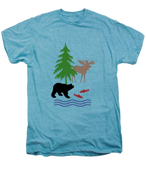 Moose And Bear Pattern Men's Premium T-Shirt