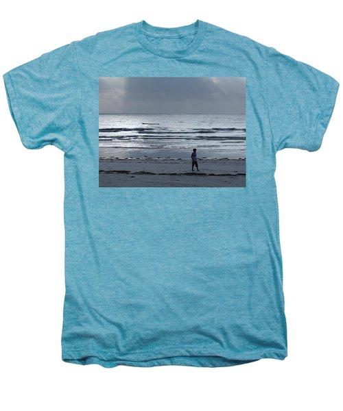 Morning Beach Walk On A Grey Day - Lone Dhow Men's Premium T-Shirt