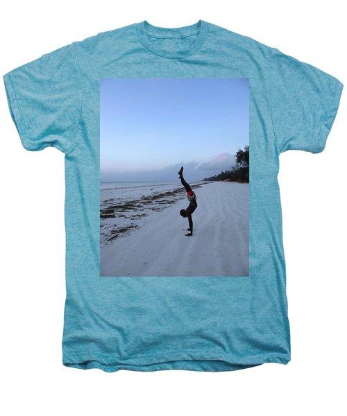 Morning Exercise On The Beach Men's Premium T-Shirt