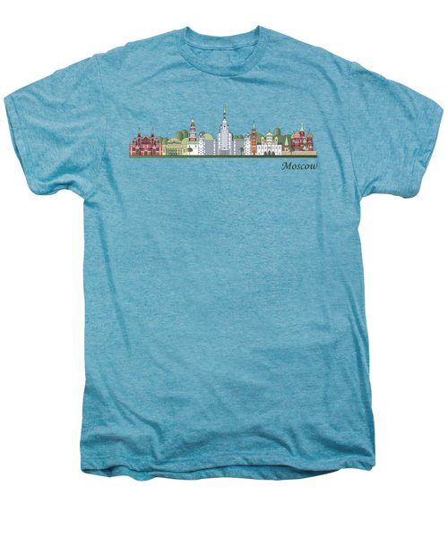 Moscow Skyline Colored Men's Premium T-Shirt by Pablo Romero