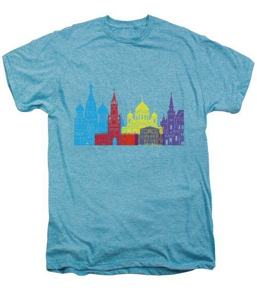 Moscow Skyline Pop Men's Premium T-Shirt by Pablo Romero