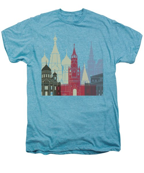 Moscow Skyline Poster Men's Premium T-Shirt by Pablo Romero