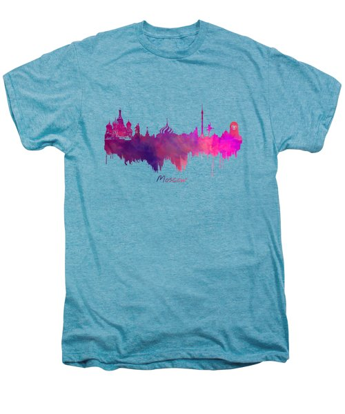 Moscow Skyline Purple Men's Premium T-Shirt by Justyna JBJart