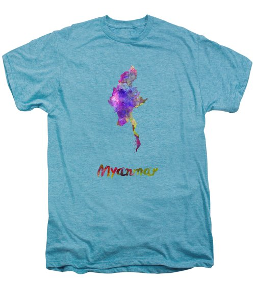 Myanmar In Watercolor Men's Premium T-Shirt by Pablo Romero