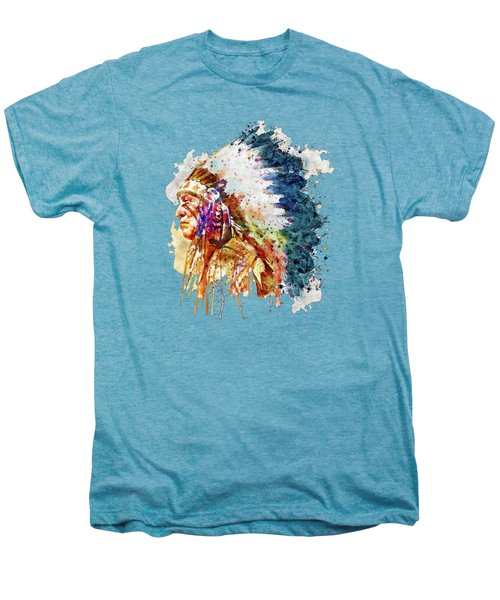 Native American Chief Side Face Men's Premium T-Shirt by Marian Voicu