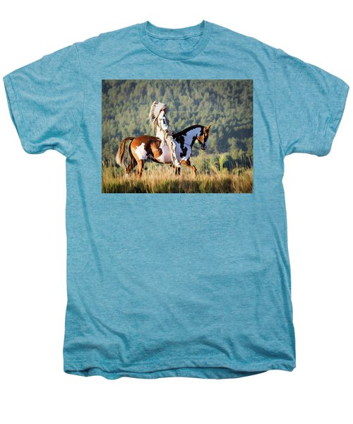 Native American On His Paint Horse Men's Premium T-Shirt