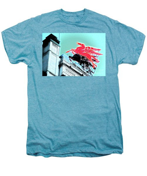 Neon Pegasus Atop Magnolia Building In Dallas Texas Men's Premium T-Shirt