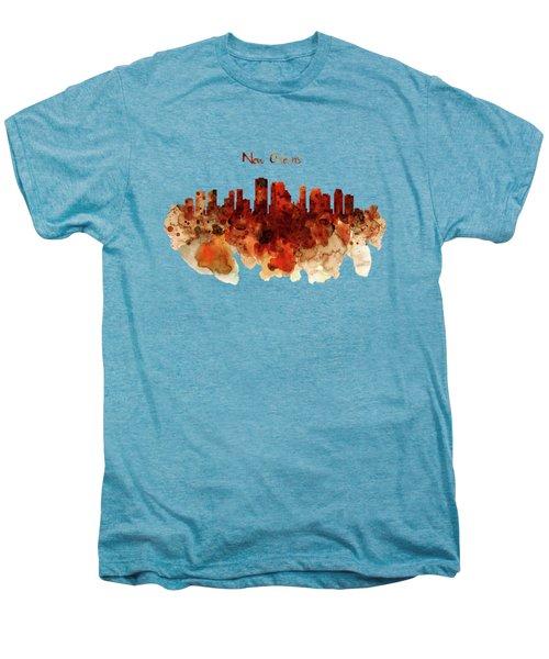 New Orleans Watercolor Skyline Men's Premium T-Shirt by Marian Voicu