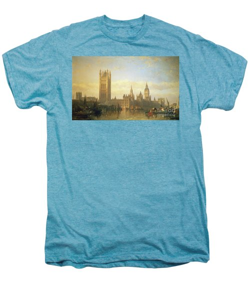 New Palace Of Westminster From The River Thames Men's Premium T-Shirt