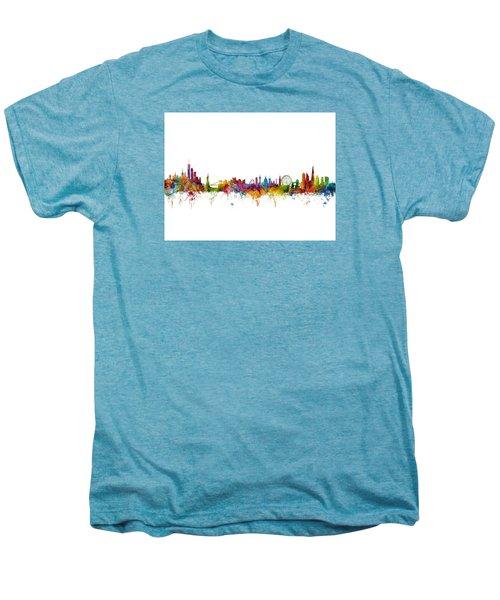 New York And London Skyline Mashup Men's Premium T-Shirt by Michael Tompsett