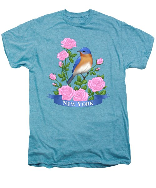 New York Bluebird And Pink Roses Men's Premium T-Shirt