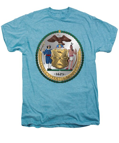 New York City Coat Of Arms - City Of New York Seal Over White Leather  Men's Premium T-Shirt