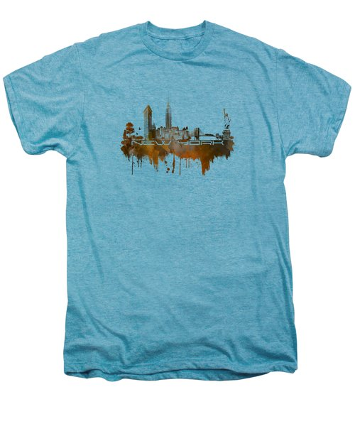 New York City Skyline Brown Men's Premium T-Shirt by Justyna JBJart