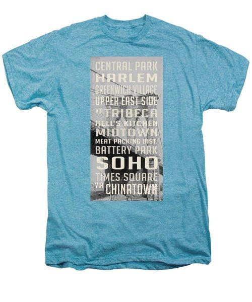 New York City Subway Stops Vintage Brooklyn Bridge Men's Premium T-Shirt by Edward Fielding