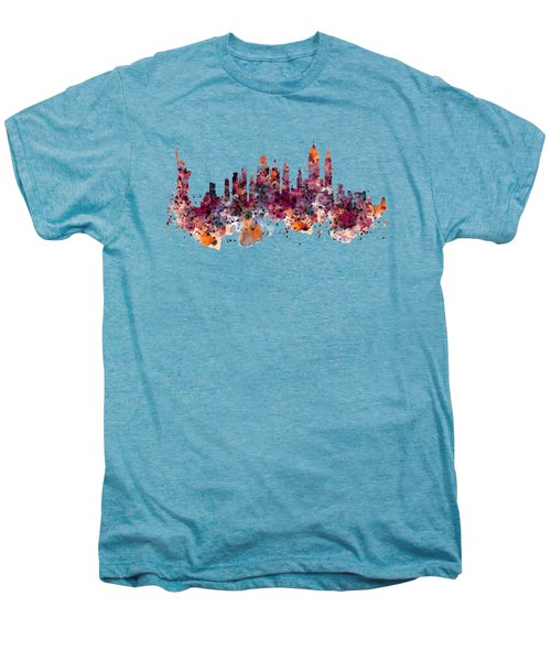 New York Skyline Watercolor Men's Premium T-Shirt by Marian Voicu