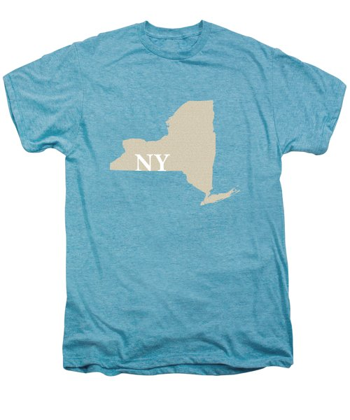 New York State Map With Text Of Constitution Men's Premium T-Shirt