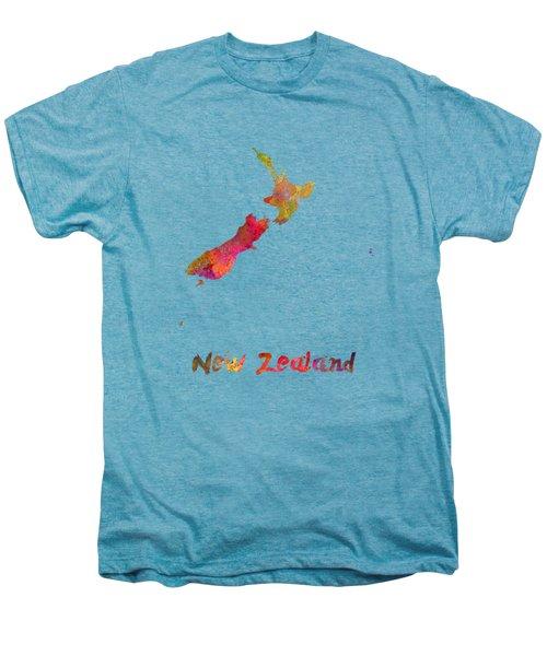New Zealand In Watercolor Men's Premium T-Shirt by Pablo Romero