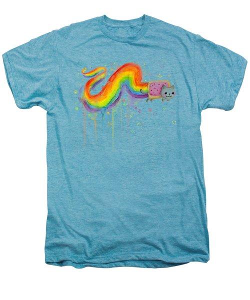 Nyan Cat Watercolor Men's Premium T-Shirt by Olga Shvartsur