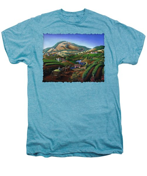 Old Wine Country Landscape - Delivering Grapes To Winery - Vintage Americana Men's Premium T-Shirt by Walt Curlee