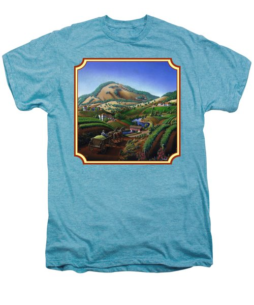 Old Wine Country Landscape Painting - Worker Delivering Grape To The Winery -square Format Image Men's Premium T-Shirt