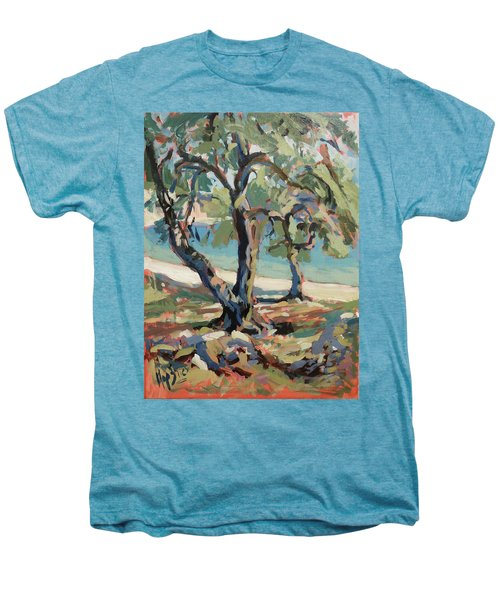 Olive Trees Along Marmari Beach Paxos Men's Premium T-Shirt
